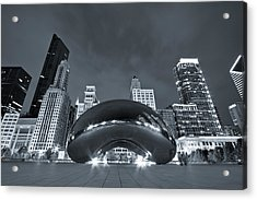 Cloud Gate And Skyline - Blue Toned Acrylic Print by Adam Romanowicz