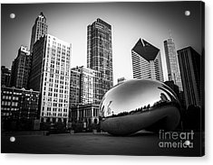 Cloud Gate Bean Chicago Skyline In Black And White Acrylic Print