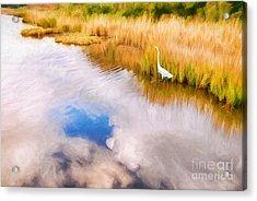 Cloud Reflection In Water Digital Art Acrylic Print by Vizual Studio