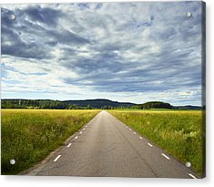 Clouds Above Country Road Acrylic Print by Johner Images