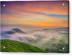 Clouds And Fog At Sunrise Acrylic Print by Marc Crumpler