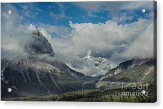 Clouds And Mist Over Canadian Rocky Mountain Peaks Acrylic Print