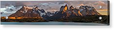 Clouds At Sunrise Over Paine Grande L Acrylic Print