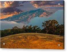 Clouds Fog And Mt Diablo Acrylic Print by Marc Crumpler