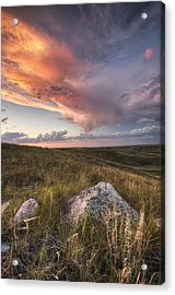 Clouds Lit At Sunset With Some Glacial Acrylic Print