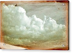 Clouds On Old Grunge Paper Acrylic Print by Michal Bednarek