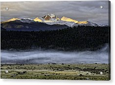 Clouds Over Longs Peak Acrylic Print by Tom Wilbert