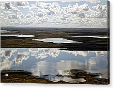 Clouds Reflected In Aleutian Lakes Acrylic Print by Michael Riley