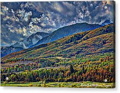 Clouds Sweating On Autumn Acrylic Print by Brenton Cooper