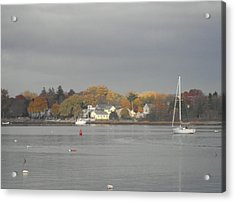 Cloudy Autumn Day On Wickford Harbor Acrylic Print by Kate Gallagher