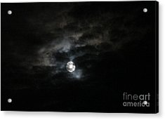 Night Time Cloudy Dark Moon Acrylic Print by Barbara Yearty
