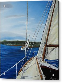 Cloudy Day Sailing Boats Acrylic Print by Portland Art Creations