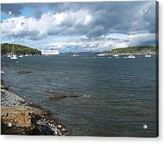 Acrylic Print featuring the photograph Cloudy Harbor by Gene Cyr