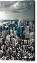 cloudy Manhattan Acrylic Print by Hannes Cmarits