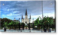 Cloudy Morning At  St. Louis Cathedral Acrylic Print