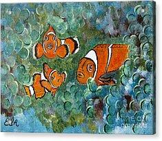 Clown Fish Art Original Tropical Painting Acrylic Print