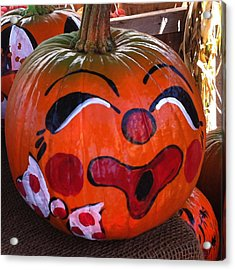 Acrylic Print featuring the photograph Clown Pumpkin by Denyse Duhaime