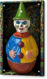 Clown Toy In Box Acrylic Print by Garry Gay