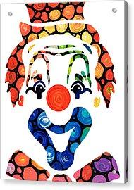Clownin Around - Funny Circus Clown Art Acrylic Print by Sharon Cummings