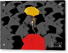 Clowning On Umbrellas 01 - A11 Acrylic Print by Variance Collections