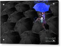 Clowning On Umbrellas 02 - A02- Blue Acrylic Print by Variance Collections