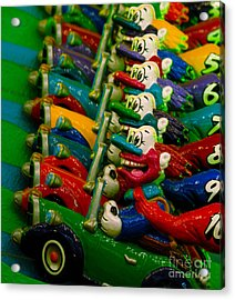 Clowns In Cars Amusement Park Game Acrylic Print by Amy Cicconi