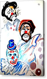 Acrylic Print featuring the painting Clowns In Heaven by Nora Shepley