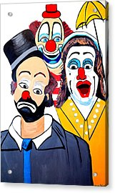 Acrylic Print featuring the painting Clowns In Shock by Nora Shepley