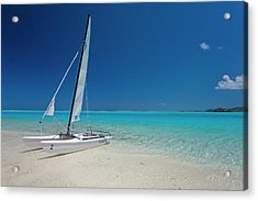 Club Med Sailing Catamaran On Shore Of Acrylic Print