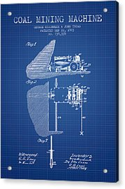 Coal Mining Machine Patent From 1903- Blueprint Acrylic Print