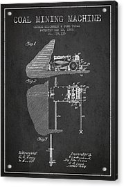 Coal Mining Machine Patent From 1903- Charcoal Acrylic Print