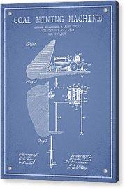 Coal Mining Machine Patent From 1903- Light Blue Acrylic Print