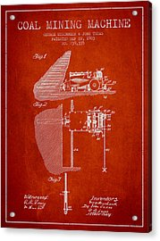 Coal Mining Machine Patent From 1903- Red Acrylic Print by Aged Pixel