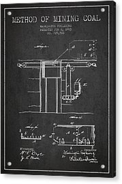 Coal Mining Patent From 1903- Charcoal Acrylic Print