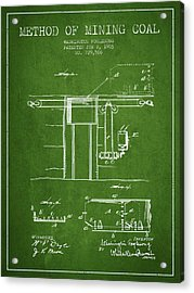 Coal Mining Patent From 1903- Green Acrylic Print by Aged Pixel