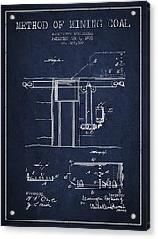 Coal Mining Patent From 1903- Navy Blue Acrylic Print
