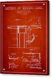 Coal Mining Patent From 1903- Red Acrylic Print by Aged Pixel