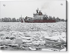 Coast Guard Cutter And Ice 6 Acrylic Print by Mary Bedy