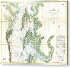 Coast Survey Chart Or Map Of The Chesapeake Bay Acrylic Print