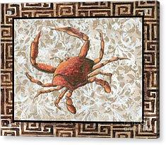 Coastal Crab Decorative Painting Greek Border Design By Madart Studios Acrylic Print by Megan Duncanson