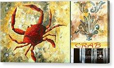 Coastal Crab Decorative Painting Original Art Coastal Luxe Crab By Madart Acrylic Print by Megan Duncanson
