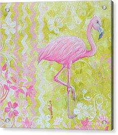 Coastal Decorative Pink Green Floral Chevron Pattern Art Flamingo Dance By Madart Acrylic Print