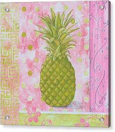 Coastal Decorative Pink Green Floral Greek Pattern Fruit Art Fresh Pineapple By Madart Acrylic Print by Megan Duncanson