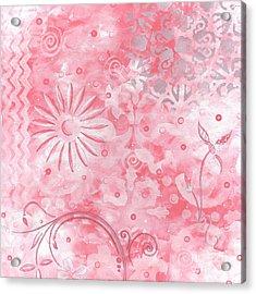 Coastal Decorative Pink Peach Floral Chevron Pattern Art Pink Whimsy By Madart Acrylic Print by Megan Duncanson
