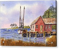 Shrimp Boat - Boat House - Coastal Dock Acrylic Print by Barry Jones