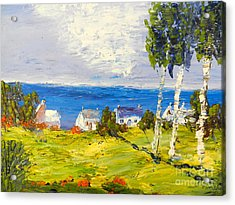 Acrylic Print featuring the painting Coastal Fishing Village by Pamela  Meredith