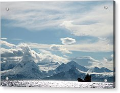 Coastal Freighter And The Lyngen Alps Acrylic Print
