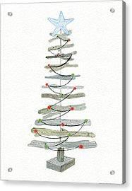 Coastal Holiday Tree IIi Red Acrylic Print by Kathleen Parr Mckenna