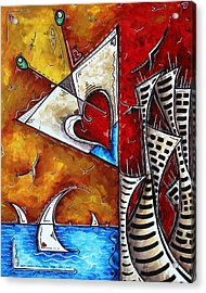 Coastal Martini Cityscape Contemporary Art Original Painting Heart Of A Martini By Madart Acrylic Print by Megan Duncanson