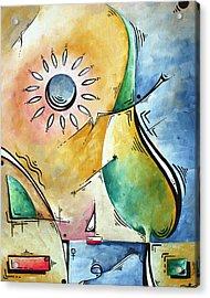 Coastal Nautical Abstract Pop Art Original Painting Sailors Sunset By Madart Acrylic Print by Megan Duncanson